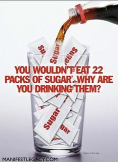 A 20-ounce soda can contain 65 grams of sugar – that's approximately 22 packets of sugar in just one bottle. LIKE and SHARE if you find this information useful.