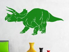 Wall Decals  Huge 3 Feet Triceratops Dinosaur by WallStickyDecal