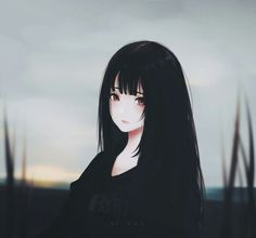 Anime Girl | Manga Girl | Gloomy | Black Anime Girl | Beautiful | Pretty | Gorgeous | Cute | Waifu | Dark | Emo | Goth |