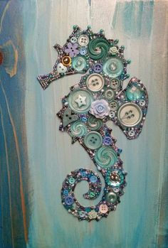 Button art seahorse on recycled wood with acrylic paint background . - Button art seahorse on recycled wood with acrylic paint background … - Button Crafts For Kids, Crafts To Make, Arts And Crafts, Button Art Projects, Kids Crafts, Art Crafts, Wood Crafts, Seashell Crafts, Beach Crafts