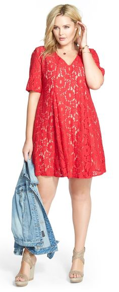 Plus Size Lace Trapeze Dress