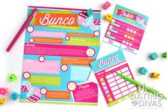 Bunco Group Date Night Instruction Sheet Couples Game Night, Night Couple, Girls Night Out, Long Distance Birthday, Long Distance Gifts, Candy Quotes, Candy Sayings, Digital Invitations, Printable Invitations