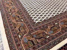 14963 Sarouk Mir rug fine 7.9 x 5.6 ft - 238 x 166 cm beige - brown