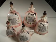 Enesco Praying Lady Cookie Jar, Tea pot, Napkin holder & Flour & Tea Can  isters.  Mother in The Kitchen Prayer