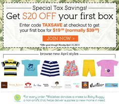 A tax day gift from Wittlebee Kids Clothing Club. Get a box of the cutest kid's clothing delivered straight to your doorstep for only $19.99!