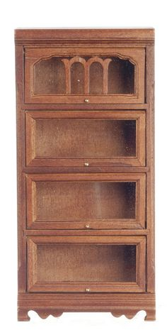 Dollhouse Miniature Furniture Book Case Shelf Walnut Barrister Bookcase New