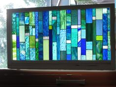 sea glass Stained glass Custom order in Vintage window for Treva Custom Stained Glass, Stained Glass Windows, Window Glass, Mosaic Glass, Fused Glass, Glass Art Design, Glass Floats, Stained Glass Christmas, Window Graphics
