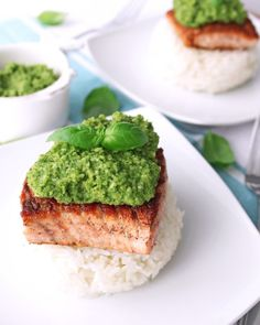 This recipe for Pan-Seared Salmon with Macadamia Nut Pesto is easy to make, delicious, healthy, and completely paleo! A great weeknight dinner. Best Paleo Recipes, Whole 30 Recipes, Dairy Free Recipes, Healthy Dinner Recipes, Low Carb Recipes, Cooking Recipes, Gluten Free, Salmon Dishes, Fish Dishes
