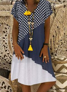 FloryDay / Casual Polka Dot Tunic V-Neckline A-line Dress Nice Dresses, Casual Dresses, Casual Outfits, Fashion Dresses, Fashion Over 50, Latest Fashion For Women, Fashion Online, Women's Fashion, Dress Up Wardrobe