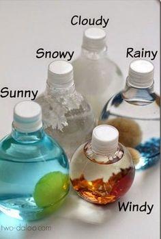 Bath Activity for Little Kids Weather Sensory Bottles - Such a fun way for Toddler, Preschool and Kindergarten age kids to explore weather!Weather Sensory Bottles - Such a fun way for Toddler, Preschool and Kindergarten age kids to explore weather! Kindergarten Age, Preschool Classroom, Classroom Activities, Preschool Activities, Toddler Preschool, Weather Activities For Kids, Weather Crafts Preschool, Weather For Kids, Daycare Crafts
