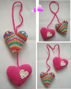 Small Things of Crochet Knitted Heart, Crochet Necklace, Small Things, Christmas Ornaments, Holiday Decor, Crochet Hearts, Ideas, Pot Holders, Amigurumi Patterns