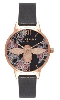 Olivia Burton - Animal Motif Black and rose gold watch Honey Bee Jewelry, 3d Rose, Hand Watch, Motif Floral, Stainless Steel Jewelry, Rose Gold Plates, Bling Bling, Fashion Jewelry, Diy Jewelry