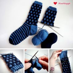 Knitting Instructions: Knit point socks with a simple Norwegian pattern Knitting Socks, Free Knitting, Knit Socks, Baby Knitting Patterns, Crochet Patterns, Fingerless Mittens, Patterned Socks, Textiles, Mitten Gloves