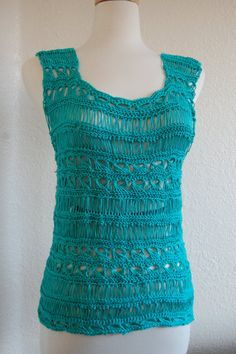 Crochet Tank Top in Broomstick Lace Ocean Blue Size by LoyesThread, $50.00