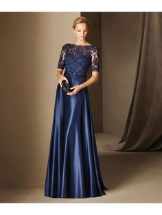 A-Line Short Sleeves Lace Satin Long Blue Prom Evening Mother of The Bride Dresses 2103007