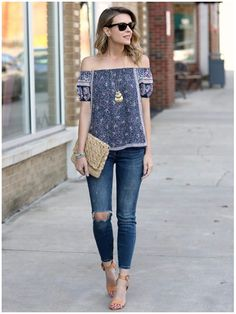 **** Get this entire look from head to toe in your April Stitch Fix 2017 box!  Love this beautiful off he shoulder printed top, distressed skinny jean paired with great camel block ankle strap heel. Love that basketweave clutch for on the go and great accessories!  Stitch Fix Spring Summer 2017. #sponsored # Affiliate #StitchFix