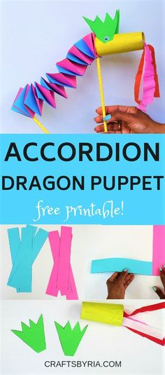 Easy paper dragon craft for Chinese New Year. This dragon puppet craft with accordion folds is so much fun and works greatly on extending the kids