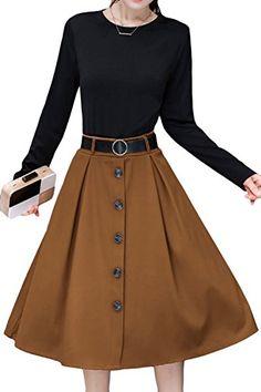 8143ddaa8798 AsherFashion Women Vintage High Waist Midi Skirts ALine Pleated Dress With  Belt 2Plain CaramelUS 02Asian Tag Medium *** BEST VALUE BUY on Amazon # ...