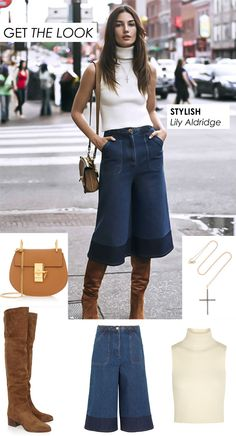 LILY ALDRIDGE STYLISH LOOK IN CULOTTES AND OVER THE KNEE BOOTS | People & Styles