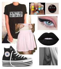 """I'm with them ~ leah x"" by miss-coco-muffins ❤ liked on Polyvore featuring Local Heroes, Converse, Lime Crime, bandtshirt and bandtee"