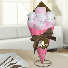 Pink Baby Elephant - Diaper Bouquets - Baby Shower Centerpieces