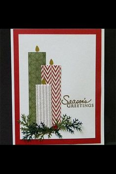 Christmas Candles by hobbydujour – Cards and Paper Crafts at Splitcoaststampers – Christmas DIY Holiday Cards Homemade Christmas Cards, Christmas Cards To Make, Xmas Cards, Homemade Cards, Christmas Crafts, Christmas Card Designs, Ecards Christmas, Holiday Cards, Christmas Night