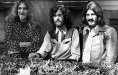 16th September 1970: Three of the four members of British heavy rock group Led Zeppelin in Embankment Gardens, London. They are, from left to right; singer Robert Plant, guitarist Jimmy Page and drummer John Bonham.