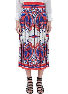 Women's Skirts - Clothing | Order Now at LN-CC - Scarf Print Pleated Skirt