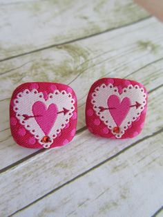 Button Earrings Stud Earrings Square by BrownBeaverBeadery on Etsy