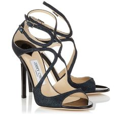 Jimmy Choo Lang: Ink Lamé Glitter Strappy Sandals