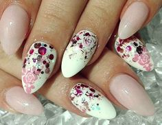 Thermogel Pink and white glitter nails