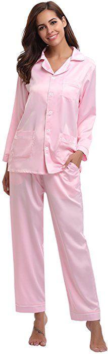 Aibrou Women s Satin Pajamas Set Long Sleeve and Long Button-Down Sleepwear  Loungewear 35f8dc409