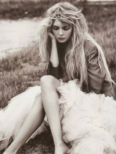 You remind me of a wildly beautiful princess with breathtaking eyes and a platinum blonde crown.