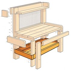 to Build a Potting Bench Illustration: Gregory Nemec Potting Bench Plans, Potting Tables, Potting Bench With Sink, Potting Sheds, Permaculture Design, Outdoor Sinks, Outdoor Chairs, Pallet Furniture, Outdoor Furniture