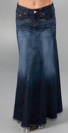018ddf1e971 15 Best Floor length denim skirts images