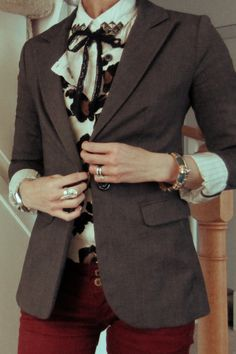 Outfit: DIY studded collar with bow, leopard print cardigan and charcoal blazer. OH and ox blood (or BURGUNDY for the non-pretentious) denim.