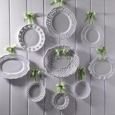 pratos pendurados laços