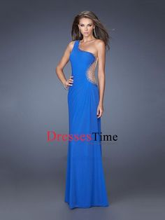 One Shoulder Beadings Pleatings Chiffon Prom Dress PD2671