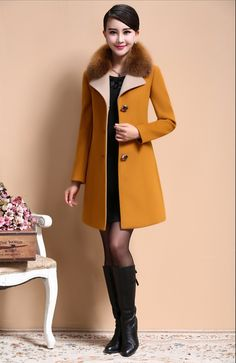 Hot Sale New 2014 Md long Women Winter Coats Fur Turn down Collar Slim Single Breasted Woolen Coat Free Shipping LY1982-in Wool & Blends from Women's Clothing & Accessories on Aliexpress.com | Alibaba Group