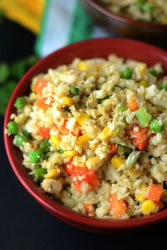 Healthy Vegan Cauliflower Fried Rice - Gluten-Free, Low Carb, High Fibre