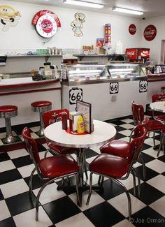 Inside Twisters: vintage soda fountain decor.