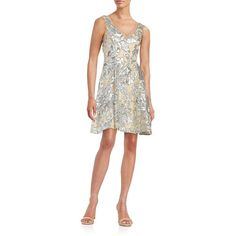 Badgley Mischka Sequined Floral Fit-and-Flare Dress ($239) ❤ liked on Polyvore featuring dresses, silver, v neck sequin dress, sleeveless dress, floral fit and flare dress, flare dress and white flare dress
