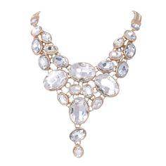 EVER FAITH Gold-Tone Art Deco Chunky Oval Clear Rhinestone Bib Statement Necklace *** READ REVIEW @ http://www.finejewelry4u.com/jewelry100/13327/?775