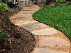 This walkway was create with artificial turf and decomposed granite. Gives the backyard an upgraded look without having to hire a gardener. Flagstone Pathway, Outdoor Walkway, Walkways, Backyard Walkway, Driveways, Cobblestone Walkway, Concrete Pavers, Backyard Retreat, Outdoor Seating