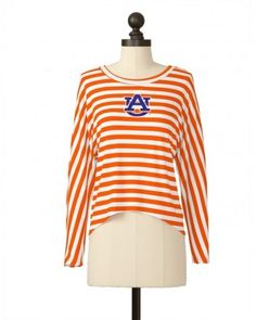 Image of Auburn Striped Asymmetrical Button Back Dolman