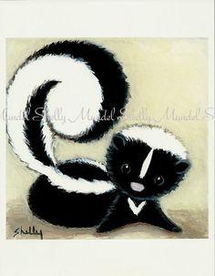 Paper PRINT from Original Painting Skunk  Folk by ShellyMundelArt, $10.00