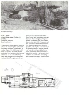 Wright Chat :: View topic - The first usonian Frank Lloyd Wright Buildings, Frank Lloyd Wright Homes, Small Floor Plans, House Floor Plans, Usonian House, Vintage House Plans, Baltimore City, Baltimore Maryland, House Blueprints