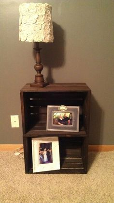Nightstand. Wood glued two wood boxes together and stained them. Super easy, cheap, and cute!