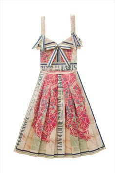 Wonderful red & blue dress made from fabric that looks like an old map of Paris