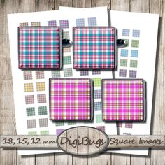 Colorful Tartan Patterns, Square Jewelry Images, Printable Digital Collage Sheet, 12 mm, 15 mm, 18 mm, Plaid Decoupage, Instant Download, d9 Insect Jewelry, Diy Jewelry, Unique Jewelry, Tartan Pattern, Plaid, Pattern Mixing, Collage Sheet, Digital Collage, Caterpillar